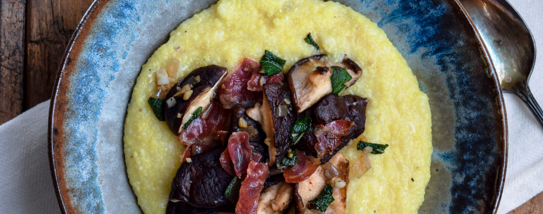 Mushrooms with Coppa Ham and Sage over Parmesan Polenta